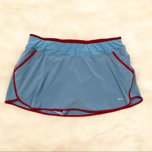 Nike dri-fit running skort large blue and maroon